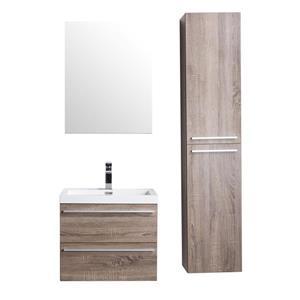 GEF Rosalie Vanity Set with Medicine Cabinet, 24-in Soft Oak