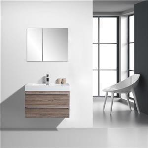 GEF Rosalie Vanity Set with Medicine Cabinet, 30-in Soft Oak