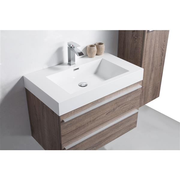 Meuble-lavabo Rosalie avec armoire, 36 po chêne clair