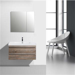 GEF Rosalie 36-in Soft Oak Single Sink Bathroom Vanity Set with White Acrylic Top and Medicine Cabinet