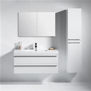 GEF Rosalie 42-in White Single Sink Bathroom Vanity Set with White Acrylic Top and Medicine Cabinet