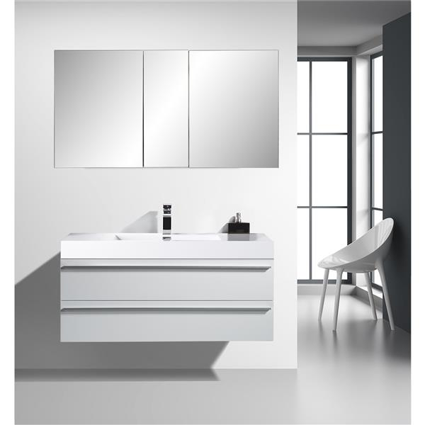 GEF Rosalie Vanity Set with Medicine Cabinet, 48-in White