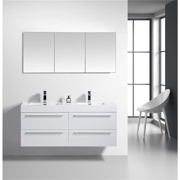 Meuble-lavabo Rosalie avec armoire à pharmacie, 60 po blanc