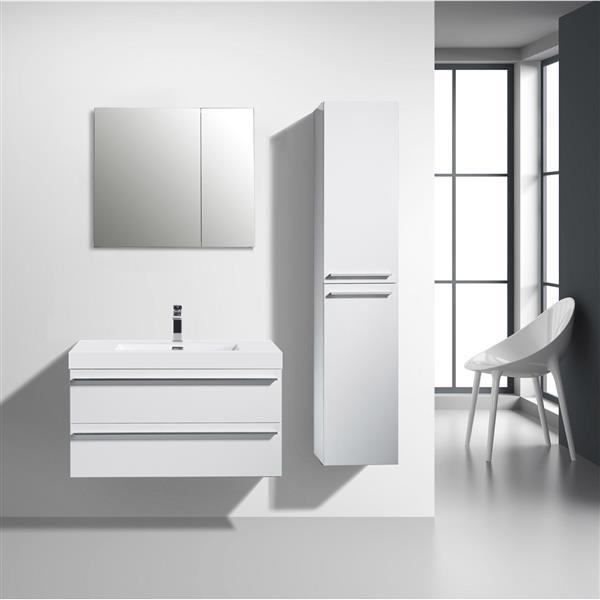 GEF Rosalie Vanity Set with Medicine Cabinet, 36-in White