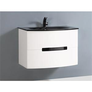 GEF Leila 30-in White Single Sink Bathroom Vanity Set with Grey Glass Top and Medicine Cabinet