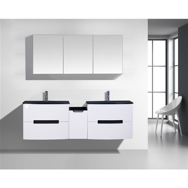 GEF Leila Vanity Set with Medicine Cabinet, 72-in White