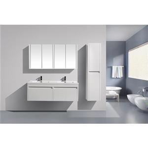 Meuble-lavabo Selena avec armoire à pharmacie, 60 po blanc