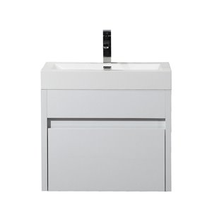 GEF Selena 24-in White Single Sink Bathroom Vanity Set with White Acrylic Top and Medicine Cabinet