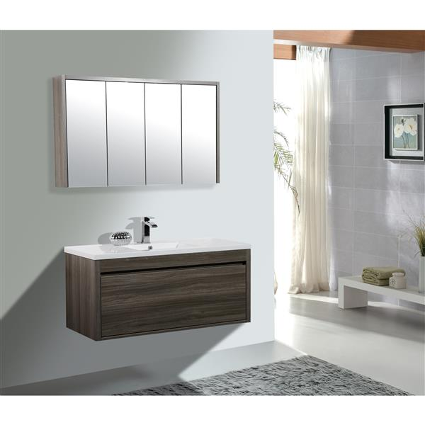GEF Selena Vanity Set with Medicine Cabinet, 48-in Maple Grey