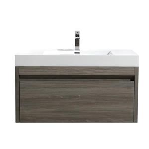 GEF Selena 48-in Maple Grey Single Sink Bathroom Vanity Set with White Acrylic Top and Medicine Cabinet