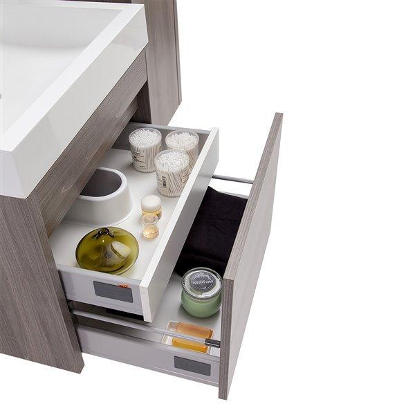 GEF Selena Vanity Set with Medicine Cabinet, 24-in Maple Grey