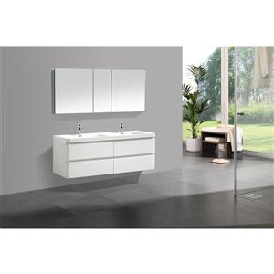 GEF Scarlett 60-in White Double Sink Bathroom Vanity Set with White Acrylic Top and Medicine Cabinet