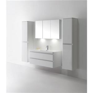 GEF Scarlett 48-in White Single Sink Bathroom Vanity Set with White Acrylic Top and Medicine Cabinet