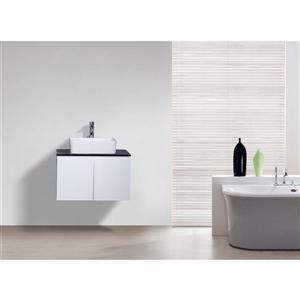 GEF Kinley 30-in White Single Sink Bathroom Vanity Set with Black Tempered Glass Top