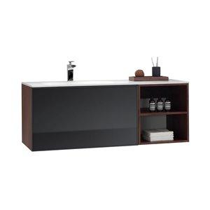 GEF Sage 48-in Walnut Single Sink Bathroom Vanity Set with White Solid Surface Top