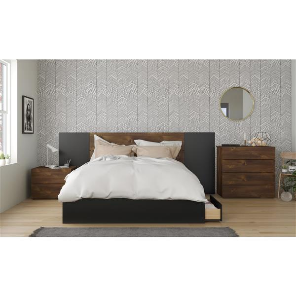 Nexera Contemporary Queen Bed - 3-Drawers - Black