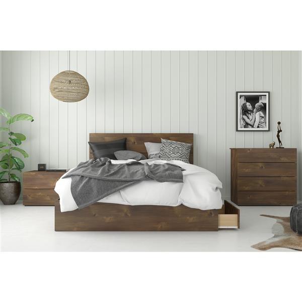 Nexera Contemporary Bed 3-Drawers - Truffle - Queen