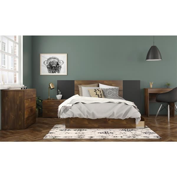 Nexera Contemporary Full Bed - 3-Drawers - Truffle
