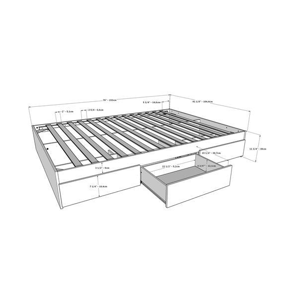 Nexera Contemporary Twin Bed - 3-Drawers - Truffle