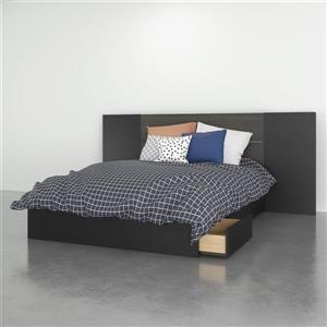 Ens. chambre à coucher double Nexera(MD), 3 mcx, ébène/noir