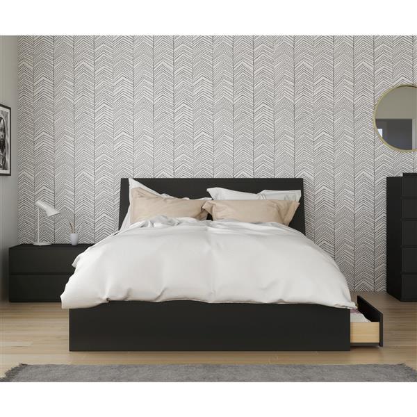 Nexera Epik Contemporary Queen Bedroom Set - 3 Pieces - Black