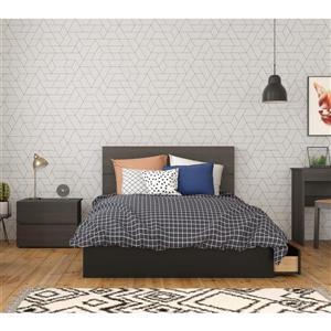 Ens. chambre à coucher double Evoque, 3 mcx, noir ébène