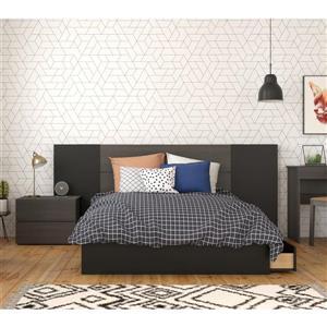 Ens. chambre à coucher double «Evoque», 4 mcx, ébène/noir