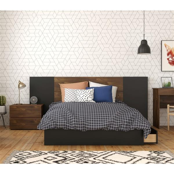 Nexera Bogota Full Bedroom Set - 4 Pieces - Truffle/Black
