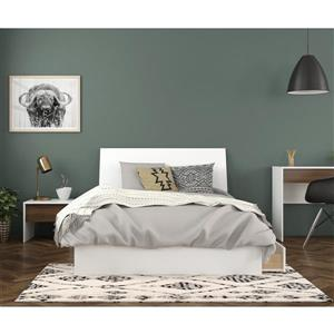 Sahara Full Bedroom Set - 3 Pieces - White/Walnut