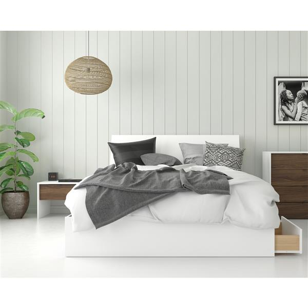Nexera Sahara Queen Bedroom Set - 3 Pieces - White/Walnut