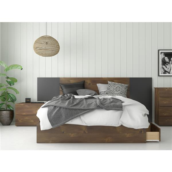 Nexera Rubicon Contemporary Queen Bedroom Set - 4 Pieces - Truffle