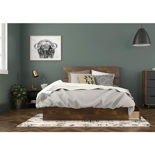 Nexera Oscuro Full Bedroom Set - 3 Pieces - Truffle/Black