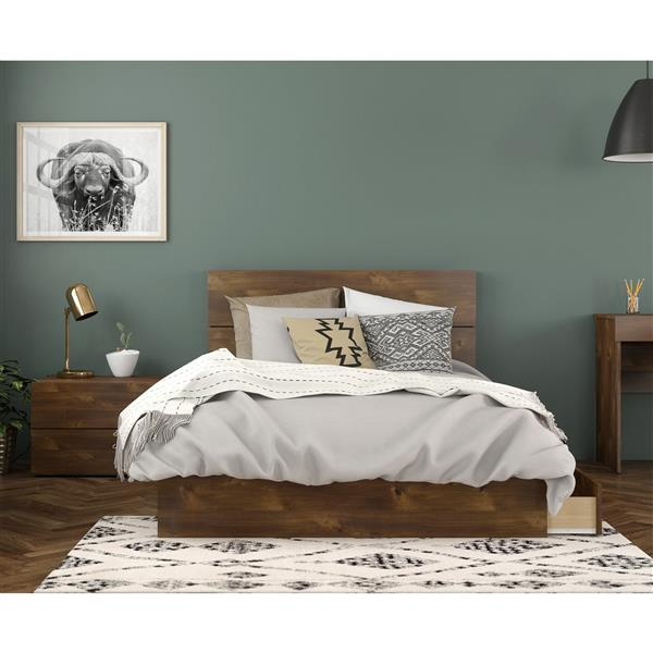 Nexera Rubicon Contemporary Full Bedroom Set - 3 Pieces - Truffle