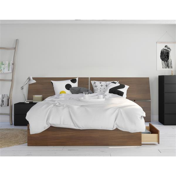 Nexera Moxy Queen Bedroom Set - 3 Pieces - Walnut/Black