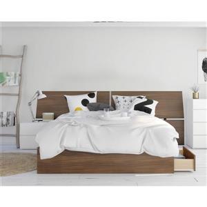 Ens. chambre à coucher grand lit «Oddense», 3 mcx, noyer