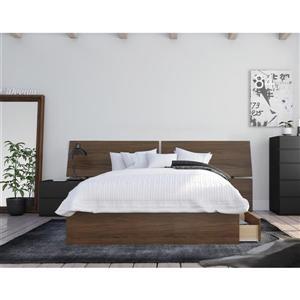 Ens. chambre à coucher double «Moxy», 3 mcx, noyer/noir