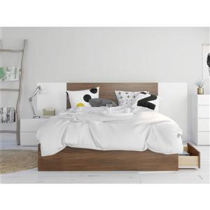 Hera Queen Bedroom Set -  4 Pieces - Walnut/White
