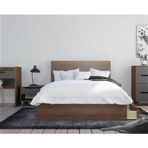 Ens. chambre à coucher double «Mystik», 3 mcx, noyer/gris