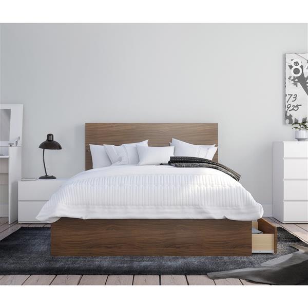 Nexera Hera Conetmporary Full Bedroom Set - 3 Pieces - Walnut/White