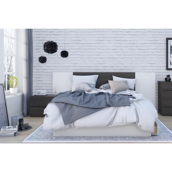 Nexera Cadence Queen Bedroom Set - 4 Pieces - Ebony/White