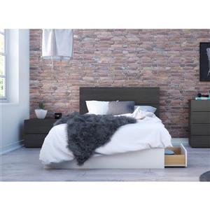 Ens. chambre à coucher double «Cadence», 3 mcx, ébène/blanc