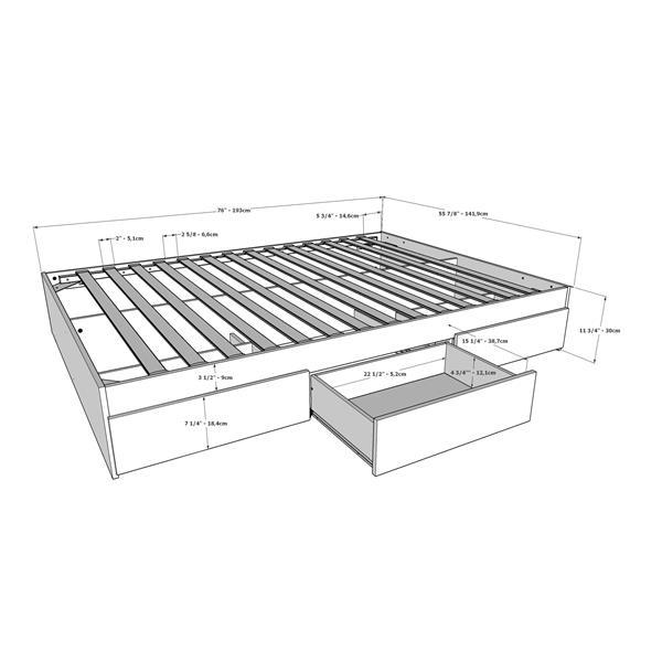 Nexera Full Bedroom Set - 2 Pieces - White/Ebony