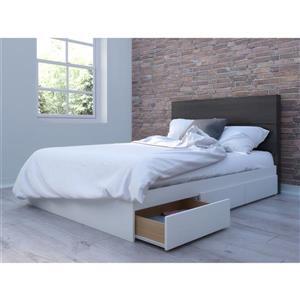 Ens. chambre à coucher double Nexera(MD), 2 mcx, ébène/blanc