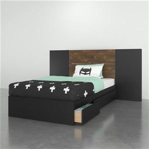 Ens. chambre à coucher simple Nexera(MD), 3 mcx, truffe/noir