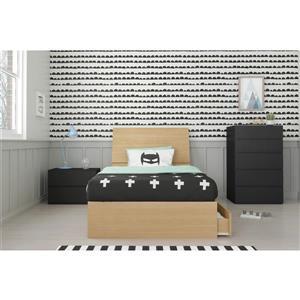 Ens. chambre à coucher simple Nexera(MD), 4 mcx, érable/noir