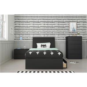 Epik Contemporary Twin Bedroom Set - 4 Piece - Black