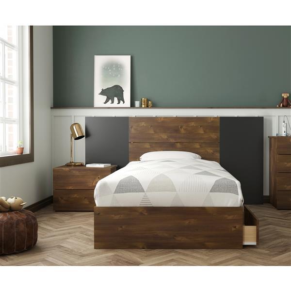 Nexera Rubicon Contemporary Twin Bedroom Set - 4 Pieces - Truffle