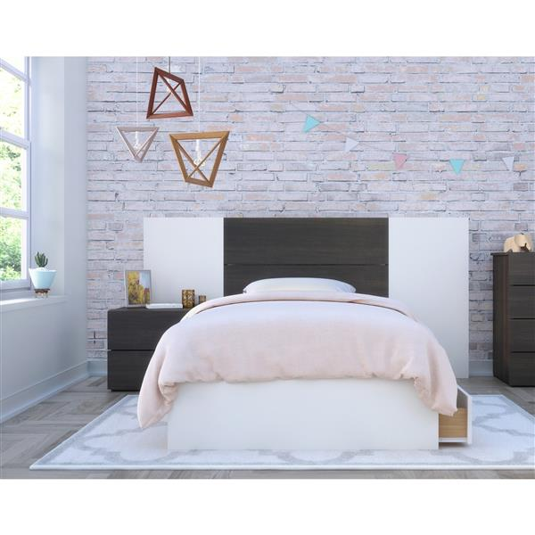 Nexera Cadence Twin Bedroom Set - 4 Pieces - Ebony/White