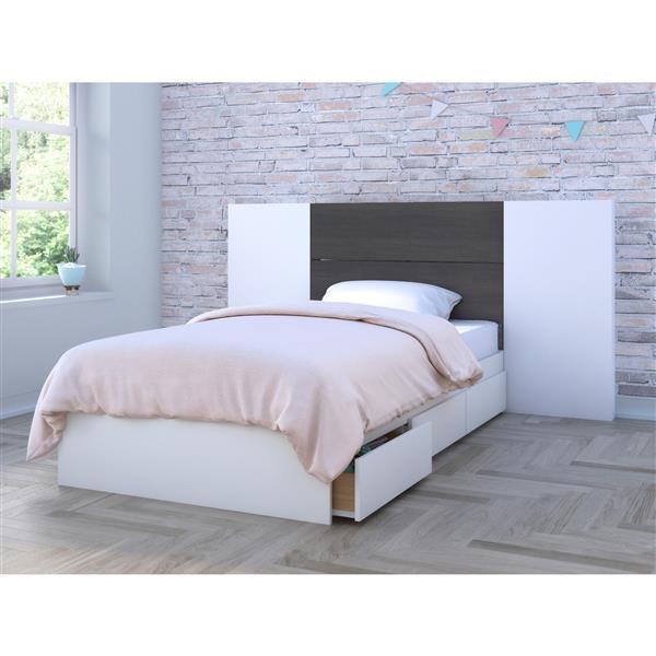 Nexera Twin Bedroom Set - 3 Pieces - White/Ebony