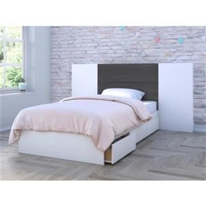 Ens. chambre à coucher simple Nexera(MD), 3 mcx, ébène/blanc